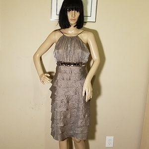 Shimmery Taupe Tiered Adrianna Papell Dress